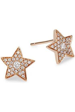 Anita Earrings - 18K Rose & Diamond Star Stud Earrings