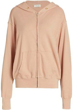 Les Tien Women Sweatshirts - Zip-Up Cropped Terry Cotton Hoodie