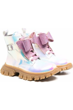 MONNALISA Iridescent bow-detail chunky ankle boots