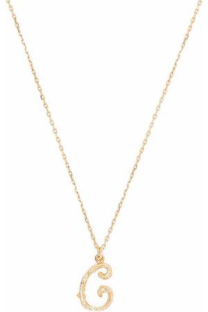 Alex Monroe 18kt yellow Enchanted Twig Alphabet C letter necklace