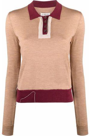 Maison Margiela Women Polo Shirts - Fine-knit long-sleeve polo shirt