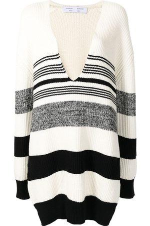 PROENZA SCHOULER WHITE LABEL Horizontal-stripe V-neck jumper