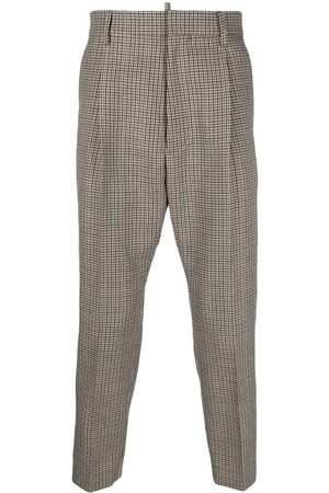 Dsquared2 Men Formal Pants - Houndstooth cropped tailored trousers