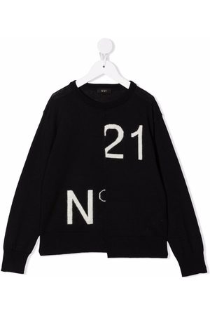 Nº21 Kids Asymmetric intarsia logo jumper
