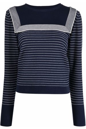 See by Chloé Sailor-collar striped knit jumper