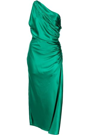 Michelle Mason Women Asymmetrical Dresses - Asymmetric gathered-side silk dress