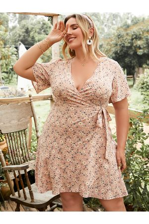 YOINS Plus Size Calico Wrap Design Tie-up Design Short Sleeves Mini Dress