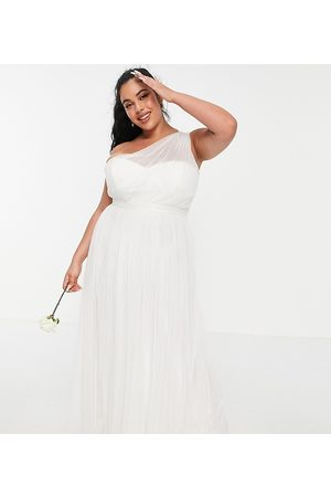 ANAYA Anaya With Love Plus tulle one shoulder maxi dress in