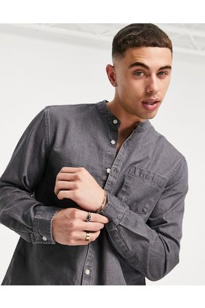 New Look Denim shirt with grandad collar in mid