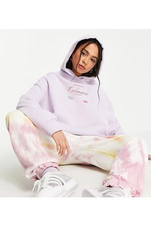 COLLUSION Oversized hoodie with brand print in lilac