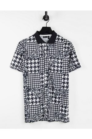 ASOS Polo shirt in dogstooth & baroque all over print-Multi