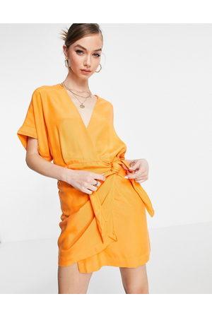 & OTHER STORIES Cupro wrap mini dress in orange