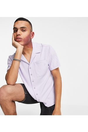 Reclaimed Men Sets - Inspired shirt with revere collar in lilac rib co-ord