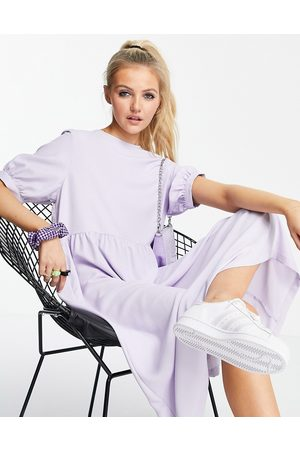 Monki Women Casual Dresses - Thora midi smock dress with volume sleeves in lilac