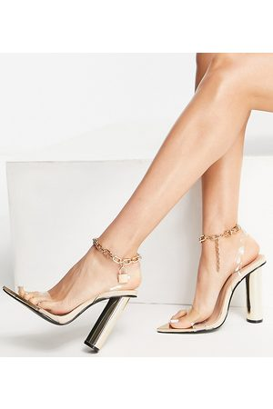 Public Desire Expression block heeled sandals with padlock detail in clear