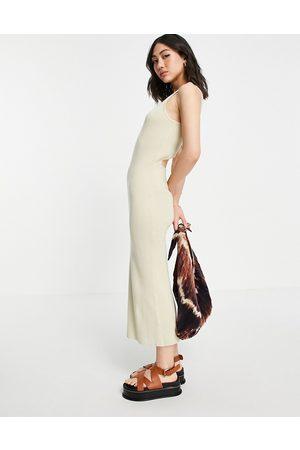 Pretty Lavish Billie cut-out rib knit midi dress in -Neutral
