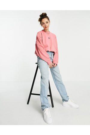 adidas Women Sweatshirts - Essentials oversized central logo sweatshirt in