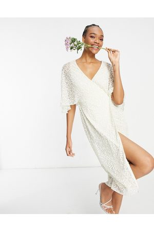Maya Delicate sequin wrap midi pencil dress in ecru