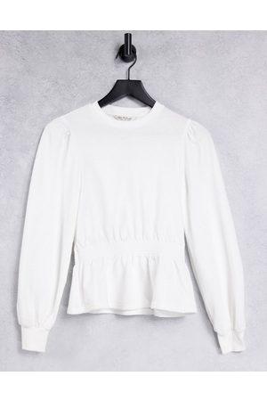 Miss Selfridge Long sleeve shirred peplum sweatshirt in