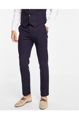 ASOS Wedding super skinny wool mix suit trousers with navy grid check