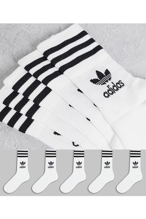 adidas 5 pack mid ankle socks in