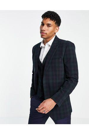 ASOS Slim suit jacket in blackwatch tartan-Navy