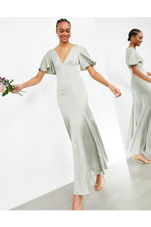ASOS Satin maxi dress with flutter sleeve in sage