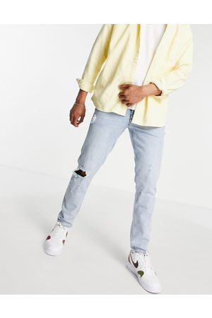 ASOS Men Slim - Stretch slim jeans with rips and abrasions in vintage light wash