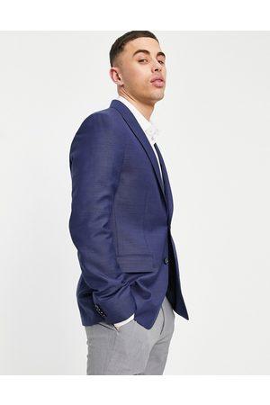 Calvin Klein Multicolour wool slim fit suit jacket-Navy