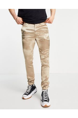 ASOS Skinny satin smart jogger cuff trousers co-ord in -Neutral