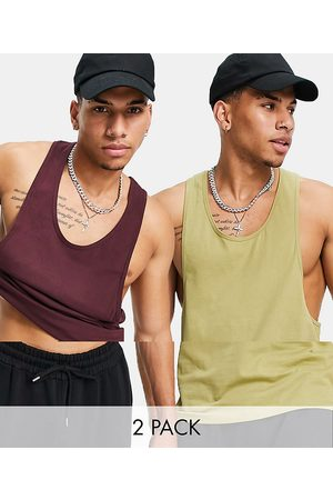 ASOS 2 pack organic vest with extreme racer back-Multi