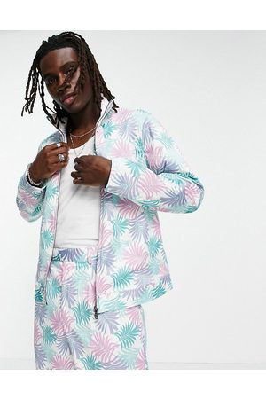 ASOS Co-ord smart track jacket with palm print in pastel