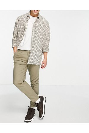 ASOS Cigarette chinos with pleats in light khaki