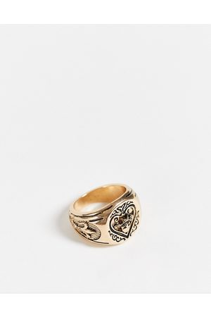 ASOS Signet ring with ace design in tone