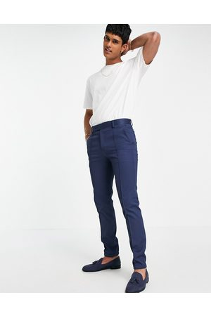 ASOS Wedding skinny suit trousers with jogger cuff in navy texture