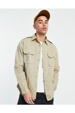 Polo Ralph Lauren Piece dye chino over shirt classic oversized fit in khaki -Neutral