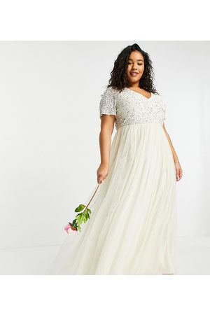 Maya V neck maxi tulle dress with tonal delicate sequin in ecru