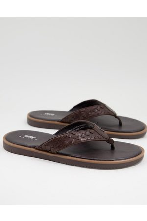 ASOS Flip flop with woven leather strap in