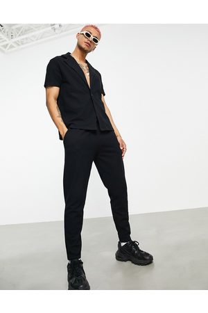 ASOS Co-ord waffle tapered joggers in with fixed hem