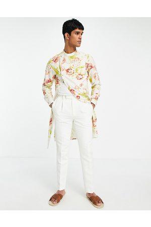 ASOS Wedding slim suit trousers in jacquard