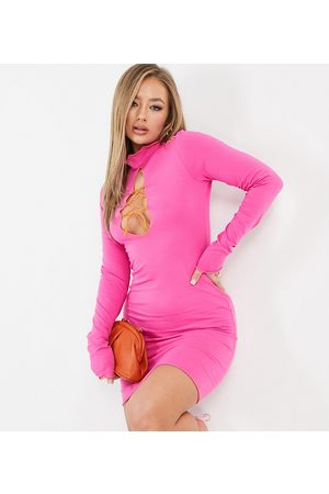 AsYou Lace up mini dress with seam detail in