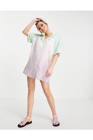 ASOS Mini shirt dress in towelling dip dye pastel green and pink-Multi