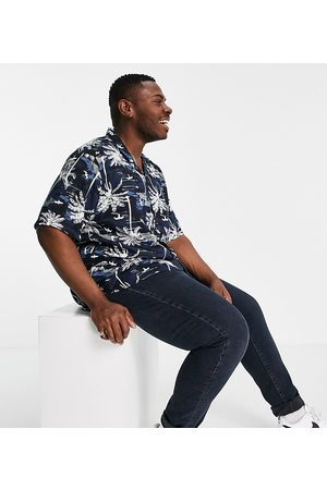 Only & Sons Short sleeve palm tree print shirt in navy