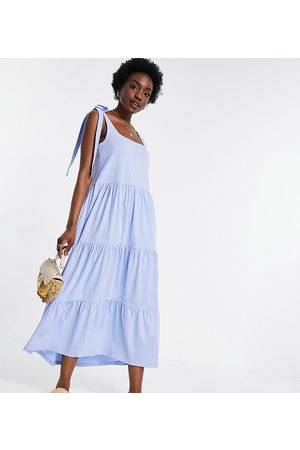 ASOS Women Casual Dresses - Tall square neck tie shoulder tiered maxi dress in chambray