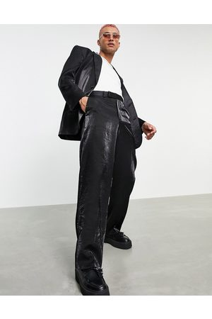 ASOS Wide suit trousers in high shine fabric
