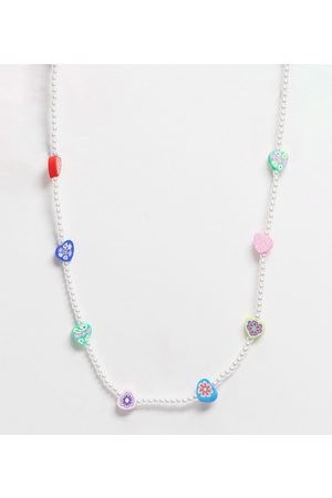 ASOS ASOS DESIGN Curve necklace with flower beads and pearls-Multi