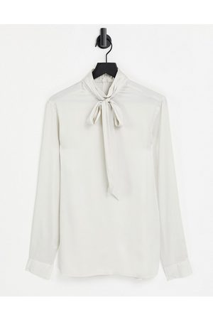 ASOS Regular fit satin shirt with pussybow neck tie in champagne-Neutral