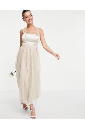 VILA Women Skirts - Bridal dress with satin bodice and tuelle skirt in neutral