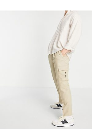 Topman Tapered cargo trousers in stone-Neutral
