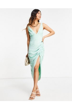 ASOS Broderie plunge side ruched midi dress in sage-Multi